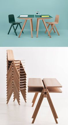 Cool look, but looks expensive & uncomfortable. Making School Furniture Beautiful: The Bouroullecs' Copenhague Line for Hay Classroom Furniture, School Furniture, Kids Furniture, Furniture Design, Danish Furniture, Plywood Furniture, Modern Furniture, Muebles Art Deco, School Chairs