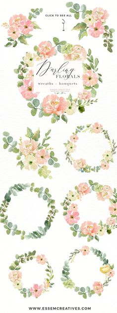 Wedding Invite Watercolor Flower PNG by Essem Creatives on @creativemarket  Wedding Invite Watercolor Wreath Clipart, Floral wreath SVG, feminine blog logo, circle logo clipart, peony and anemone clipart for logos and branding, save the dates, bridal shower invitation, birthday party decor, rustic wedding, country wedding, blush wedding, greenery wedding, classic wedding, spring summer wedding invites. Click to see more>>