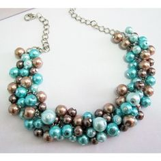 Chunky Blue Pearl Necklace, Clustered Pearl Necklace in Aqua,... ($25) ❤ liked on Polyvore featuring jewelry, necklaces, pearl jewelry, aqua necklace, turquoise jewelry, pearl cluster necklace and chunky necklaces