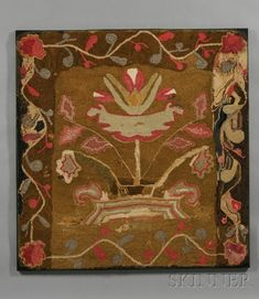 Floral Wool Hooked Rug, America, late 19th century