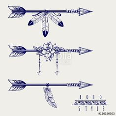 Boho style arrows feathers and flowers royalty-free boho style arrows feathers and flowers stock vector art & more images of abstract arrow tattoo Boho style arrows with feathers and flowers design. Boho Tattoos, Flower Tattoos, New Tattoos, Body Art Tattoos, Small Tattoos, Small Feather Tattoos, Indian Feather Tattoos, Small Arrow Tattoos, Tattoo Ink