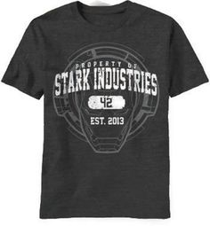 Officially Licensed Stark Industries Logo Mens T-Shirt Black