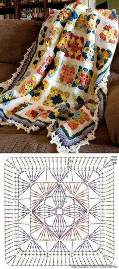 Free crochet pattern from Glenda in the Woods - Shadow Reflection Afghan This is amazing work! Crochet Stitches Patterns, Crochet Chart, Crochet Motif, Crochet Granny, Modern Crochet, Crochet Home, Irish Crochet, Crochet Blocks, Crochet Squares