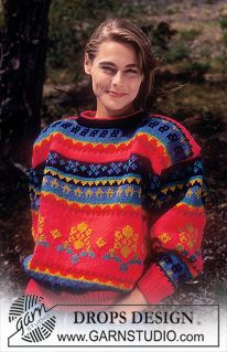 Garnstudio Drops Pattern Jumper with traditional pattern borders in Alaska Knitting Charts, Knitting Patterns Free, Free Knitting, Crochet Patterns, Fair Isle Pullover, Garnstudio Drops, Magazine Drops, Drops Patterns, Knitted Flowers