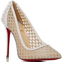 Christian Louboutin Guni Tan Mesh Stiletto Shoes, Women's Supernatural Style | https://pinterest.com/SnatualStyle/