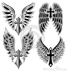 cross with wings | Set Of Cross And Wings - Tattoo - Elements -vector Royalty Free Stock ...