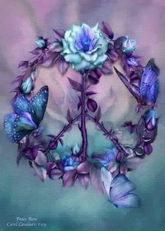 Carol Cavalaris Mixed Media - Peace Rose - Blue by Carol Cavalaris Paz Hippie, Hippie Peace, Happy Hippie, Hippie Love, Hippie Chick, Hippie Things, Butterfly Wallpaper, Butterfly Art, Dreamcatcher Wallpaper