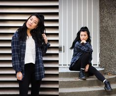 Oversized Flannel, Forever 21 Sweater, Dr. Martens Boots