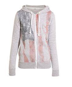 Grey (Grey) American Flag Zip Up Hoody | 258542804 | New Look