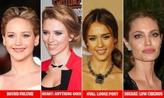 Take note from (L-R) Round faced Jennifer Lawrence, who adds volume to her crown, heart shaped Scarlett Johansson, who can rock any 'do, oval shaped Jessica Alba, who looks best with a loose pony, and square shaped Angelina Jolie, who works a low chignon