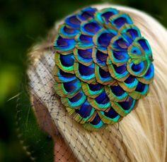 Minerva ... Peacock Fascinator with Black Birdcage Veil