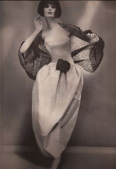 Dior's Madrilena Dress of floating pale gray faille  Alexandre of Paris Coiffure  Richard Avedon  Harper's Bazaar Dec 1960