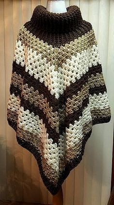 Oversized Poncho Granny Square Poncho Chunky by GrahamsBazaar