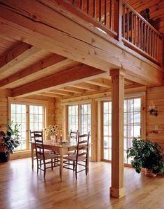 Log home dining area under balcony