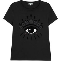 Womens T-Shirts KENZO Black Printed Eye Cotton T-shirt ($120) ❤ liked on Polyvore featuring tops, t-shirts, cotton tee, kenzo, black t shirt, black cotton t shirt and black cotton top