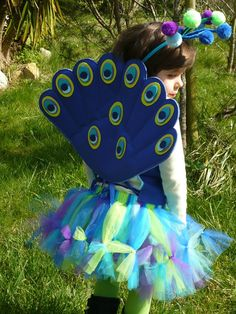 Peacock Costume  Includes Plush Wire Free Wings
