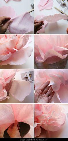 Giant Crepe Paper Peony---Part 9 of 10---written directions on post---http://bloggingcornerblog.blogspot.com/2013/07/giant-paper-peony-pinatas.html