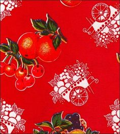 Round Oilcloth Tablecloths in Fruit Cart