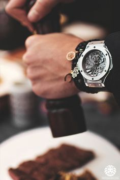 Cooking with a Hublot Tourbillon Big Bang.  Cooking with style