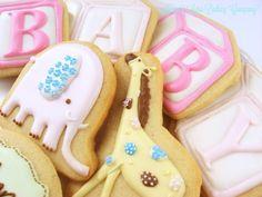 Baby Shower Cookies Block Elephant Giraffe Monogram Royal Icing Decorated Sugar Cookies