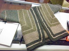 Baby Surprise Jacket BSJ by Prairiedaun on ravelry-- nice mix of heathered Cascade 220 shades on size 8 needles