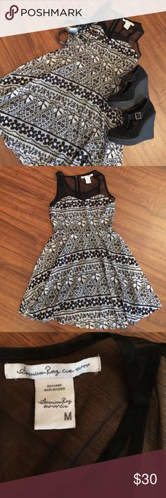 Beautiful Dress So cute on with heels or flats❤️perfect stitch and designs all over with sheer neck and shoulder strap❤️1 very small flaw in pic 3. Very tiny hole I noticed while looking over to take pics. Otherwise PERFECT❤️ American Rag Dresses
