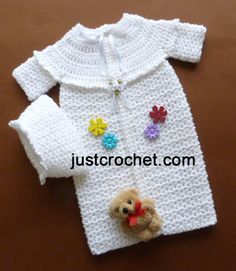 Free crochet pattern for a Preemie Sleepsuit & Hat by JustCrochet. Preemie Crochet, Crochet Baby Cocoon, Crochet Baby Clothes, Crochet For Kids, Free Crochet, Crochet Hats, Baby Patterns, Knitting Patterns, Crochet Patterns