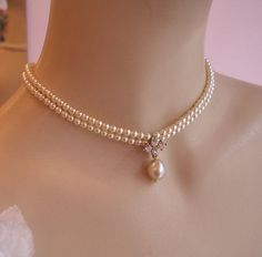 Hey, I found this really awesome Etsy listing at https://www.etsy.com/listing/90528958/bridal-choker-necklace-vintage-pearls