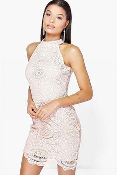 Sleeveless fitted high neck lace mini crochet dress 4ufashion.eu