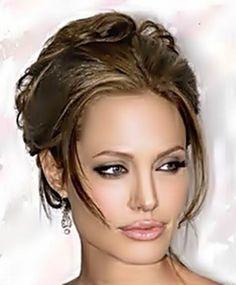 angelina-jolie make-up and lips Celebrity Hairstyles, Pretty Hairstyles, Easy Hairstyles, Wedding Hairstyles, Angelina Jolie, Wedding Day Makeup, Crazy Hair, Hair Highlights, Dark Hair