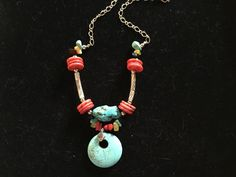 Bold Turquoise and Coral Statement Necklace - pinned by pin4etsy.com
