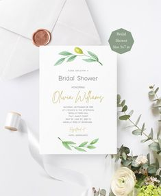 Olive Greenery Bridal Shower Invitation Printable, Greenery Wedding, Editable Template,Instant Download. #weddings #invitation #green #bridalshower #gold #rustic #greenery  #wedding #olive