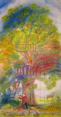 treefort play by magicwindows on Etsy (Elizabeth Auer, Waldorf teacher)