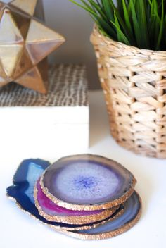 How to Make Gilded Edge Agate Coasters