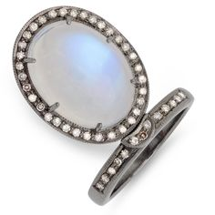 "Add the perfect finishing touch to an edgy chic outfit with this unique Moon Stone Ring.  Size 7.5 with a 7/8""L x 5/8""W pendant  $575 purchase@cbluxe.com"
