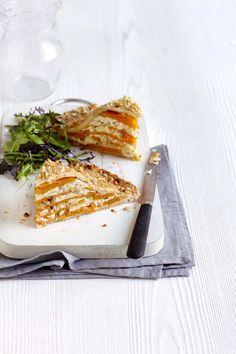 pumpkin, cheese and hazelnut pie.