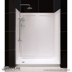 "Dreamline DL-6190 SlimLine Shower Installation Package with 76-3/4"" High x 60"" W White / Right Drain Showers Shower Modules 4 Piece"