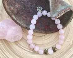 Rose Quartz bracelet with antique golden charms for yoga gift, meditation, beauty and present!