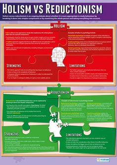 Holism vs Reductionism Psychology Poster - Teaching resources - Welcome Education Psychology Revision, Psychology Posters, Psychology A Level, Psychology Resources, Psychology Memes, Colleges For Psychology, Psychology Courses, Psychology Studies, Educational Psychology