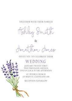 Printable Lavender Wedding Invitation RSVP & OPTIONAL