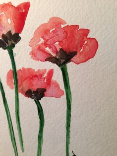 Poppies Watercolor Card by gardenblooms on Etsy