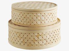 DAFEN NATURAL Bamboo Set of 2 round bamboo lidded boxes - HabitatUK