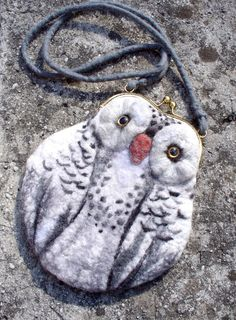 snowy OWL Wet Felted coin purse Ready to Ship with by MSbluesky, $66.00