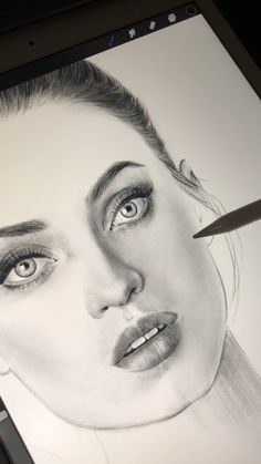 Digital drawing of a model in lingerie from Bracli. Part 2 (work in progress) - realistic drawings Realistic Pencil Drawings, Pencil Art Drawings, Art Drawings Sketches, Drawing Faces, Drawing Art, Portrait Sketches, Pencil Portrait, Portrait Art, Art Mignon