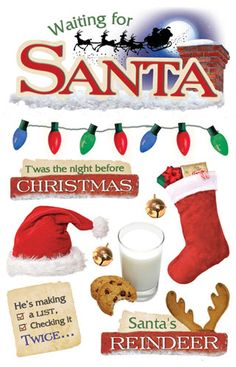Paper House Productions - Christmas - 3 Dimensional Cardstock Stickers with Foil Gem and Glitter Accents - Waiting For Santa  $3.99