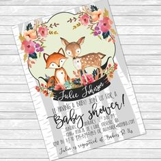 Someone please get pregnant so I can use these invites! I A-D-O-R-E them! baby, shower, invite, animal fox, deer, nursery, twins, birch, forest, trees, floral, girl, boy