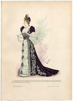 Art Nouveau influence in decoration of gown  L'Art et la Mode 1890 N°12 Marie de Solar, hand colored fashion plate, Theatre Costume