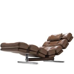 For Sale on - Ric Deforche for Gervan, chaise longue model 'Lord', leather and steel, Belgium, This biomorphic daybed by Ric Deforche is executed in brown leather Modern Daybed, Modern Chairs, Cool Furniture, Modern Furniture, Lord, Nice Curves, Tubular Steel, Mid-century Modern, Brown Leather