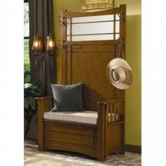"Hall Tree with Storage Bench - ""Mission Oak"" - Powell Furniture - - Hall Trees, Hall Tree Furniture Hallway Storage Cabinet, Hall Tree Storage Bench, Hall Tree Bench, Entryway Storage, Entry Bench, Storage Benches, Entryway Ideas, Storage Area, Hallway Ideas"