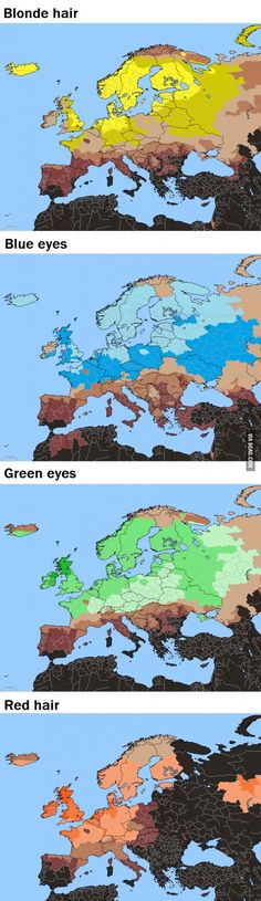 #Europe by hair & eye color